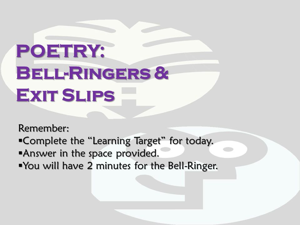 POETRY: Bell-Ringers & Exit Slips
