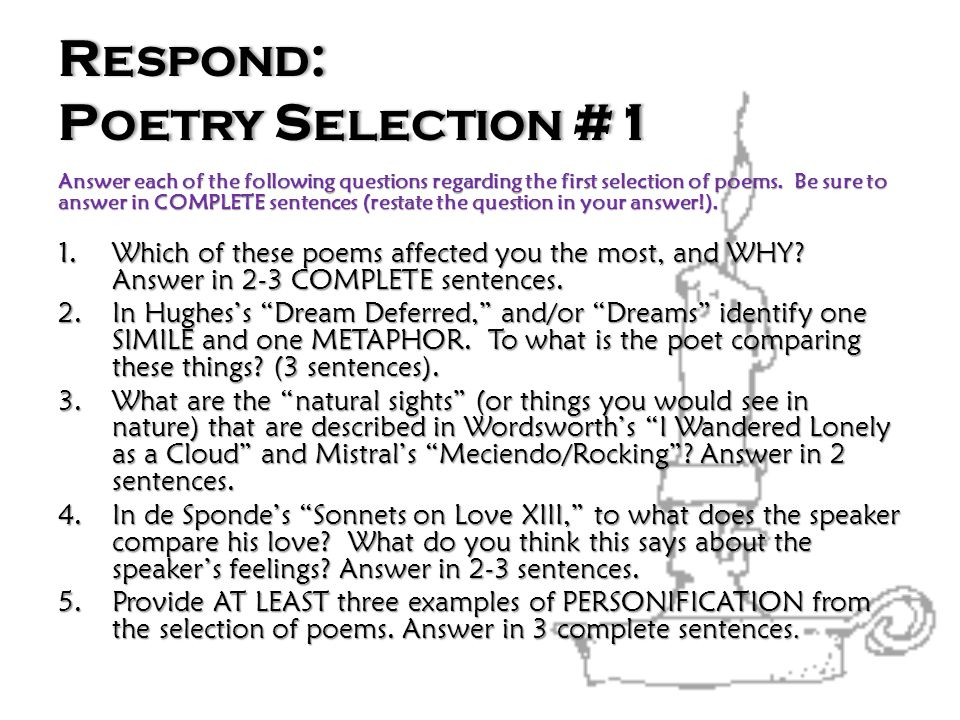 Respond: Poetry Selection #1