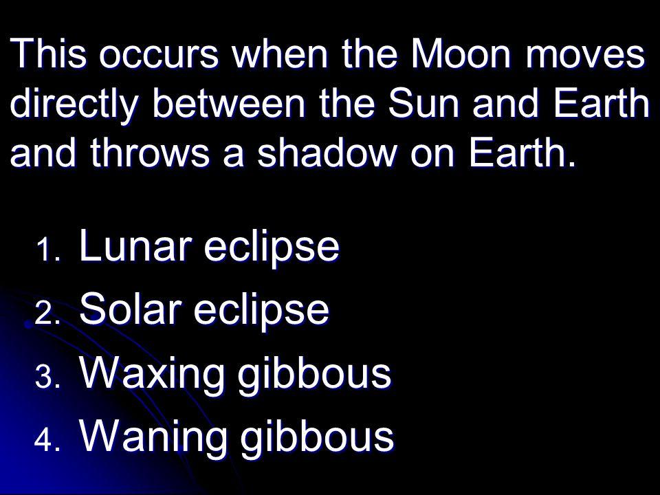 Lunar eclipse Solar eclipse Waxing gibbous Waning gibbous