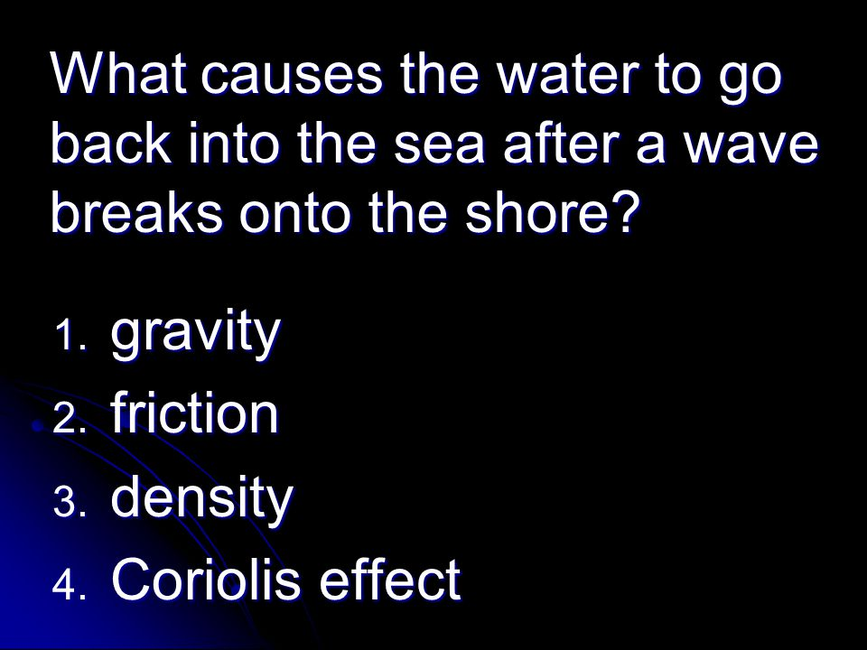 What causes the water to go back into the sea after a wave breaks onto the shore
