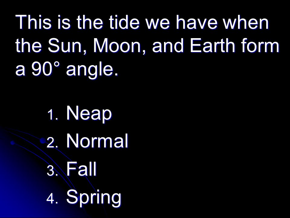 This is the tide we have when the Sun, Moon, and Earth form a 90° angle.