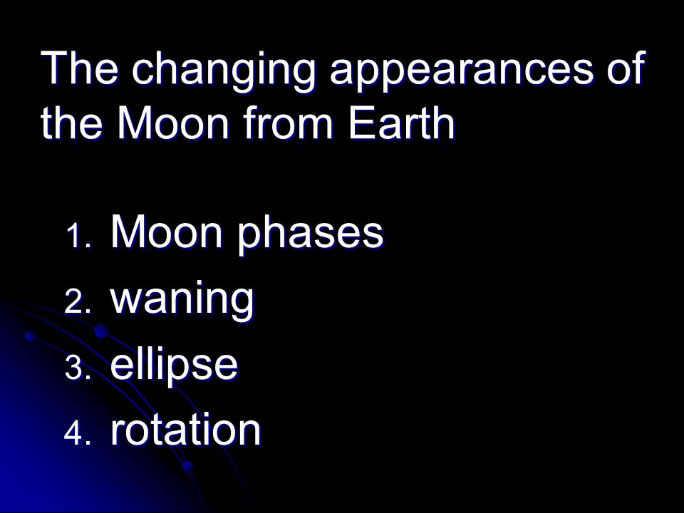 The changing appearances of the Moon from Earth