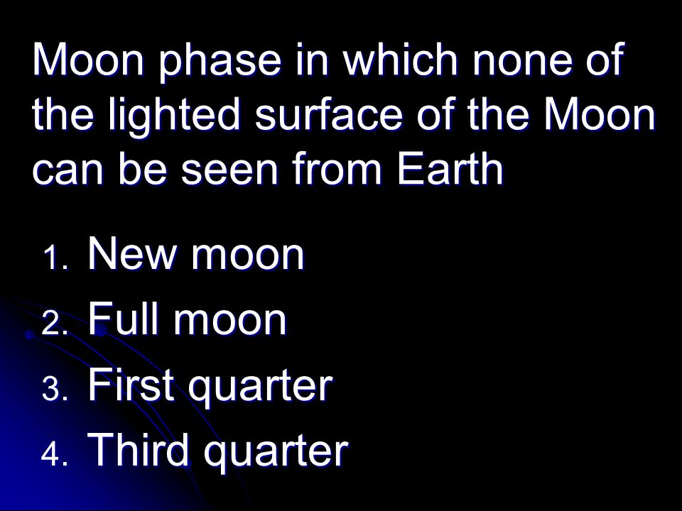 Moon phase in which none of the lighted surface of the Moon can be seen from Earth