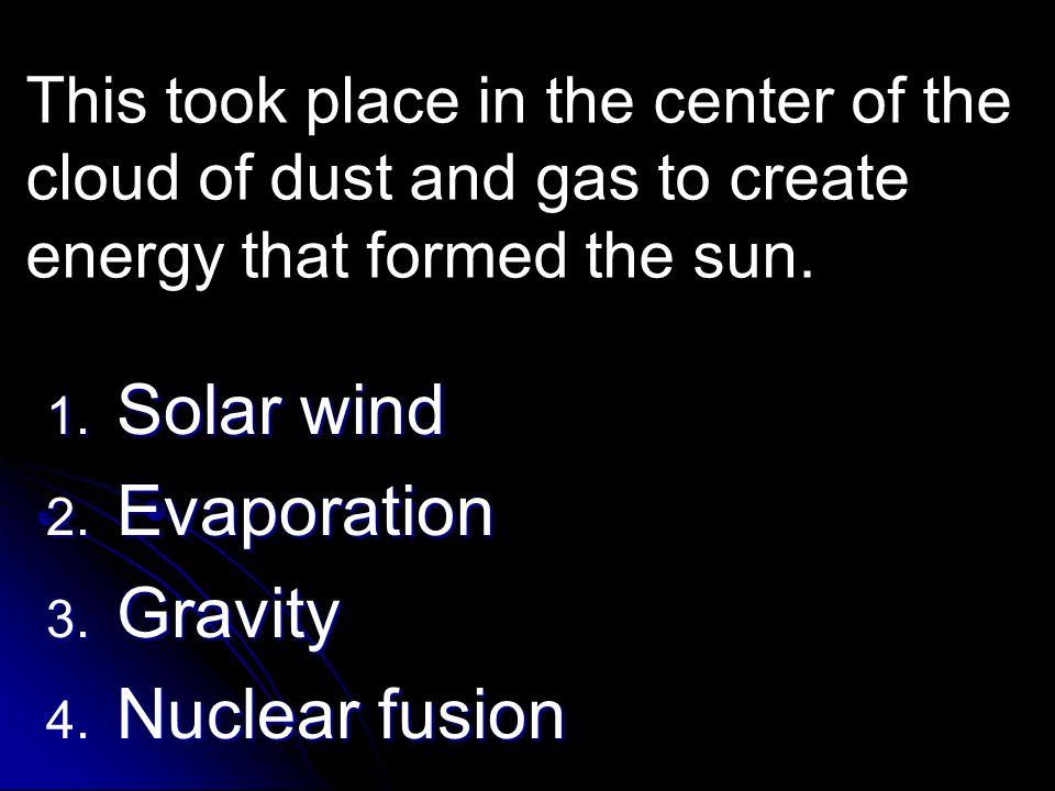 Solar wind Evaporation Gravity Nuclear fusion