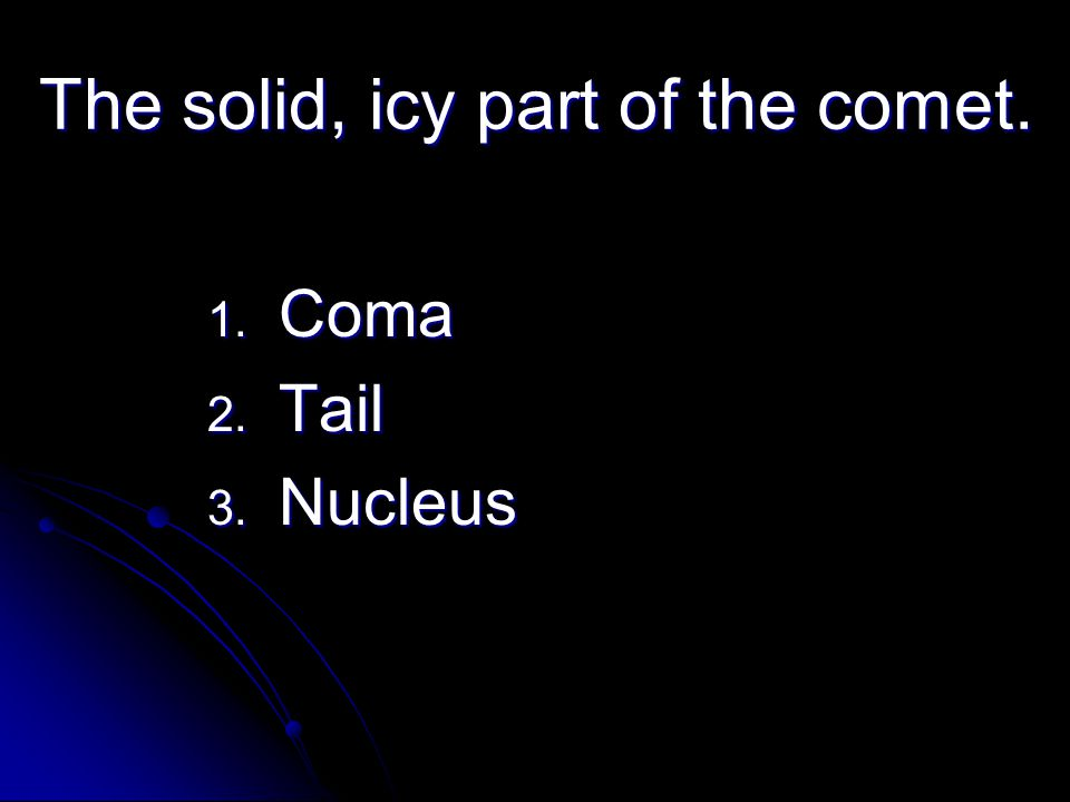 The solid, icy part of the comet.