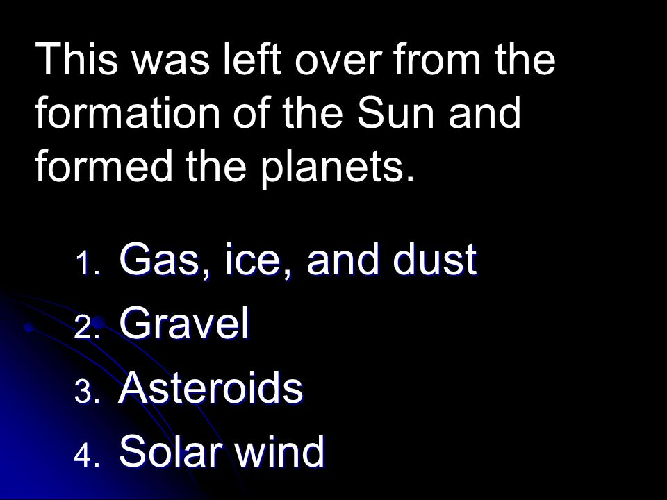 This was left over from the formation of the Sun and formed the planets.