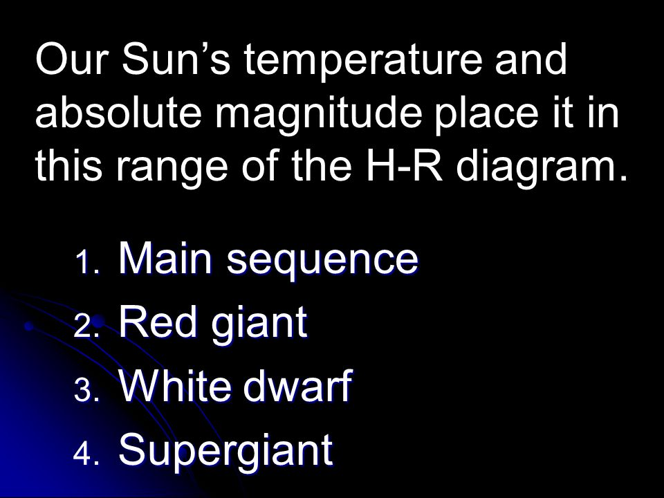 Our Sun's temperature and absolute magnitude place it in this range of the H-R diagram.