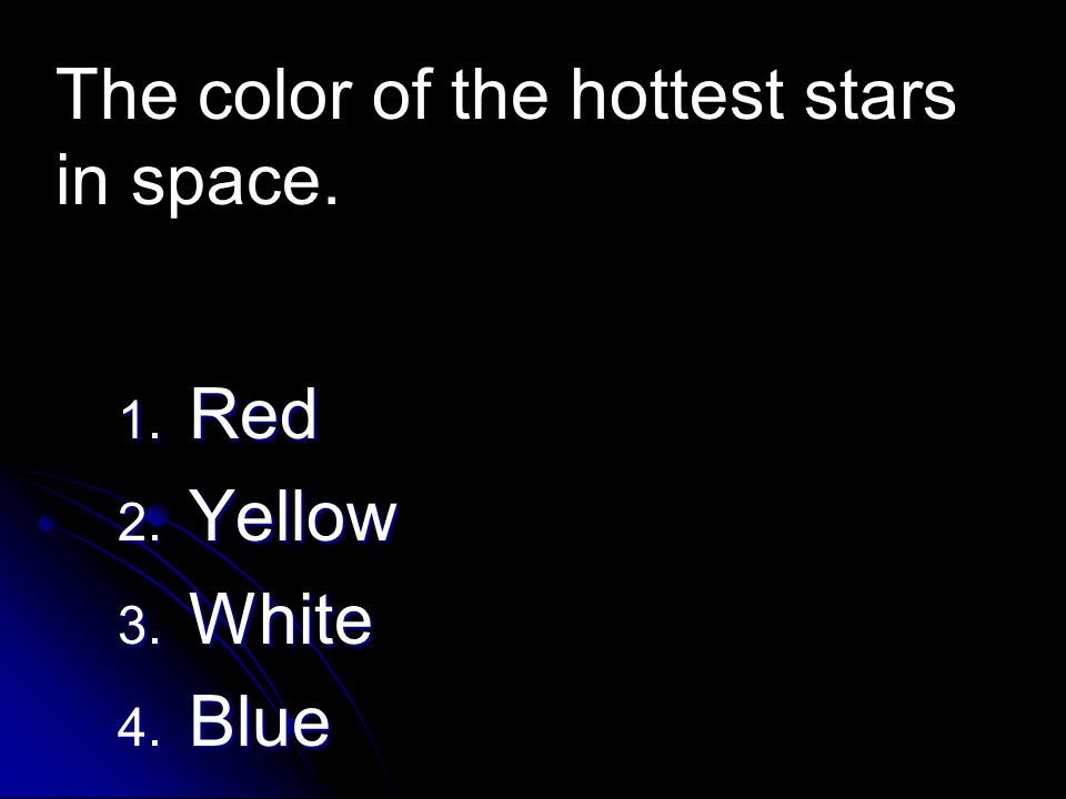 The color of the hottest stars in space.