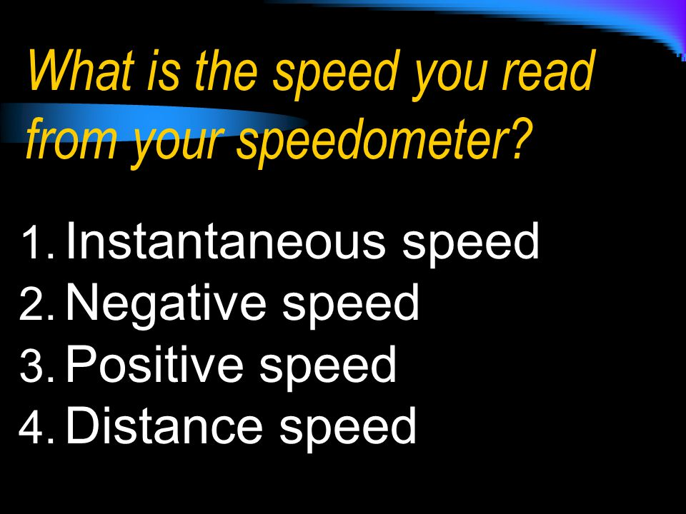 What is the speed you read from your speedometer