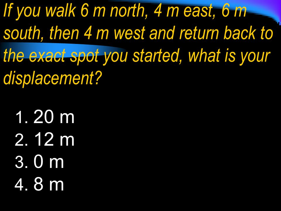 If you walk 6 m north, 4 m east, 6 m south, then 4 m west and return back to the exact spot you started, what is your displacement
