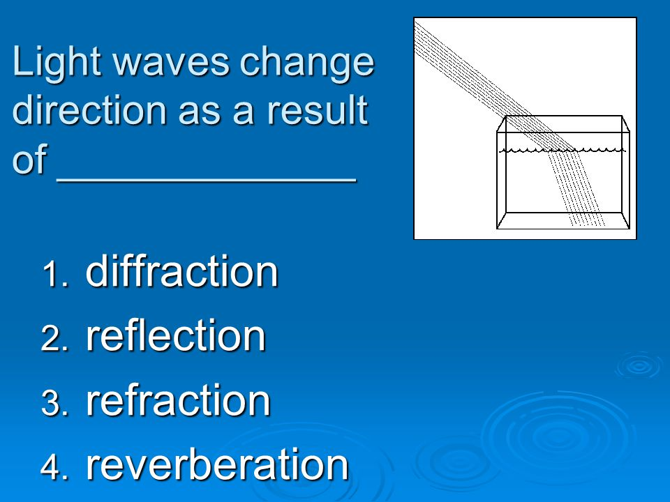 Light waves change direction as a result of _____________