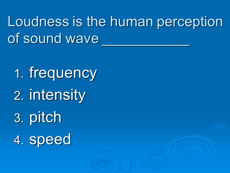 Loudness is the human perception of sound wave ___________