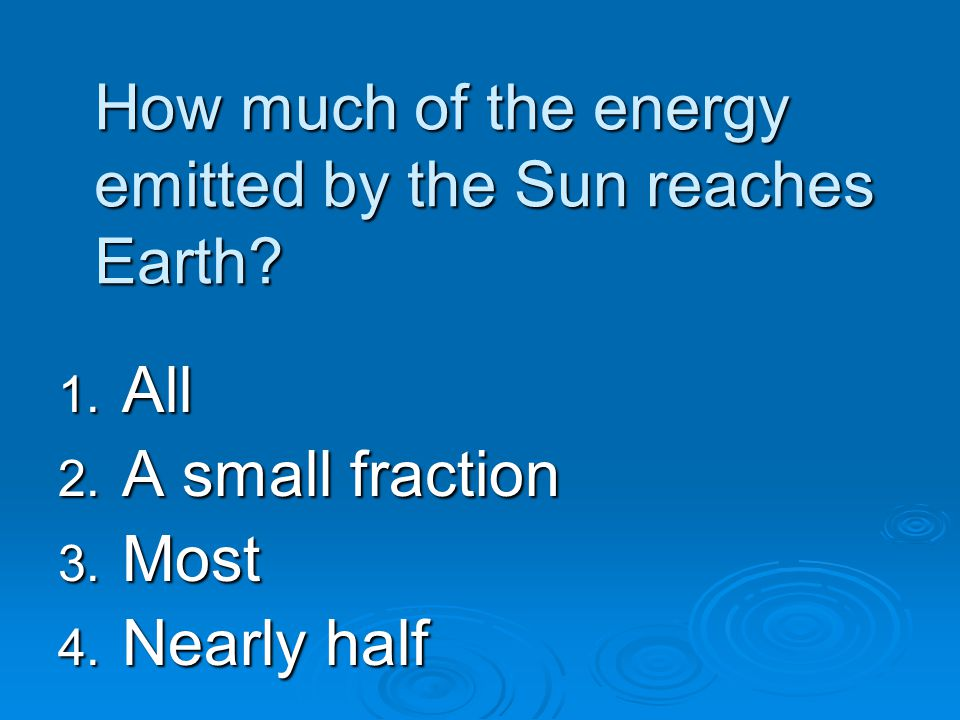 How much of the energy emitted by the Sun reaches Earth