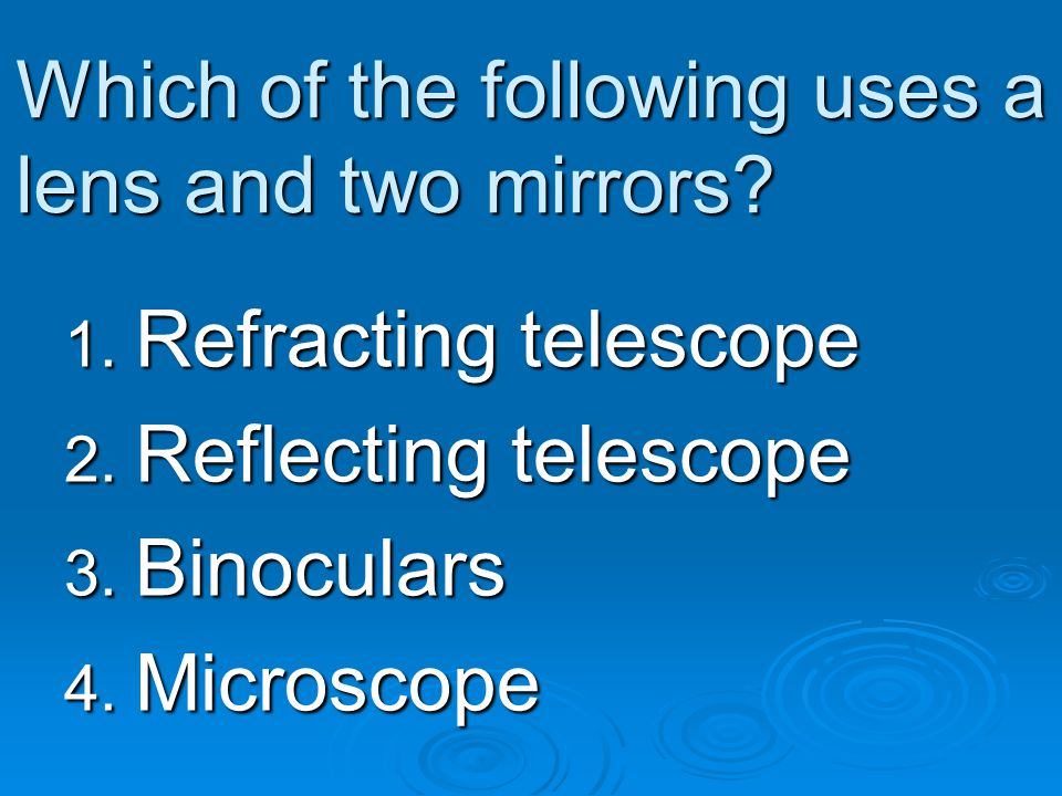 Which of the following uses a lens and two mirrors
