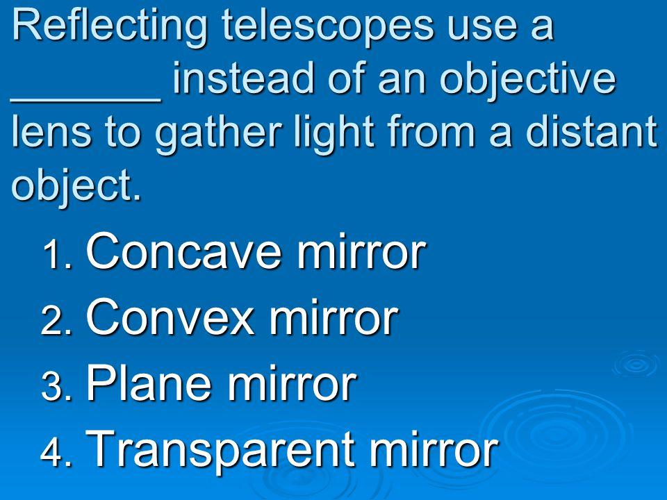 Concave mirror Convex mirror Plane mirror Transparent mirror