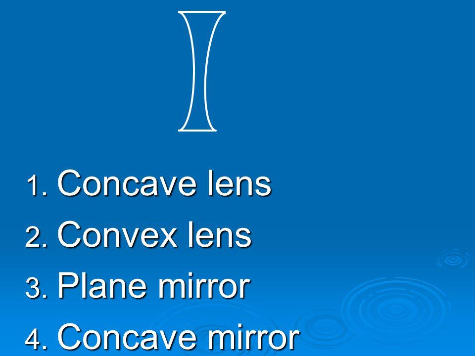 Concave lens Convex lens Plane mirror Concave mirror