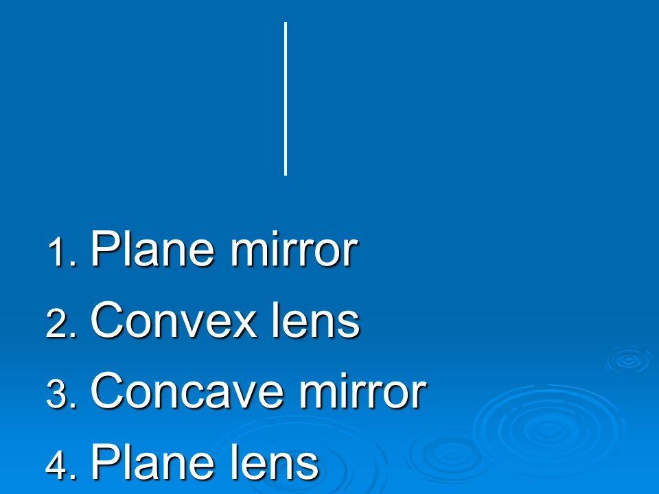 Plane mirror Convex lens Concave mirror Plane lens