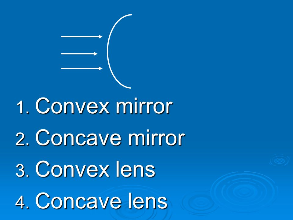 Convex mirror Concave mirror Convex lens Concave lens
