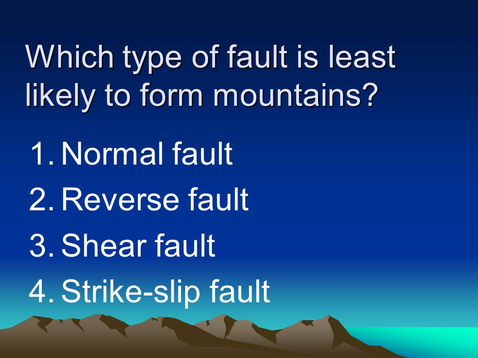 Which type of fault is least likely to form mountains