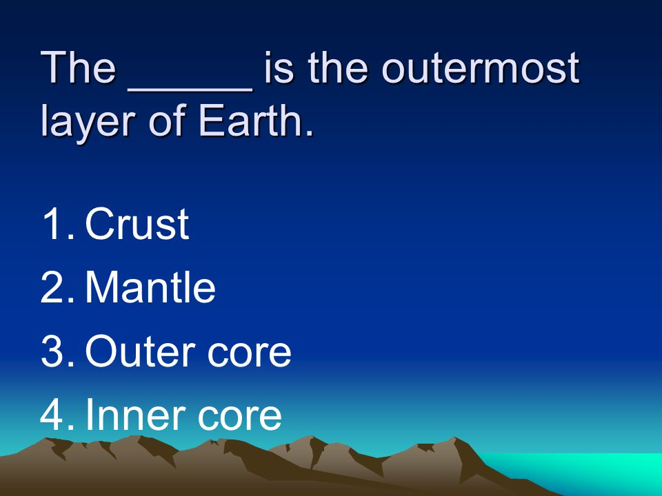 The _____ is the outermost layer of Earth.