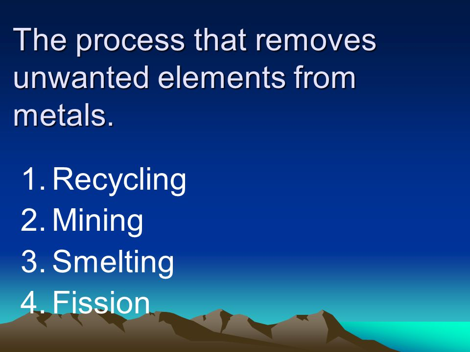 The process that removes unwanted elements from metals.