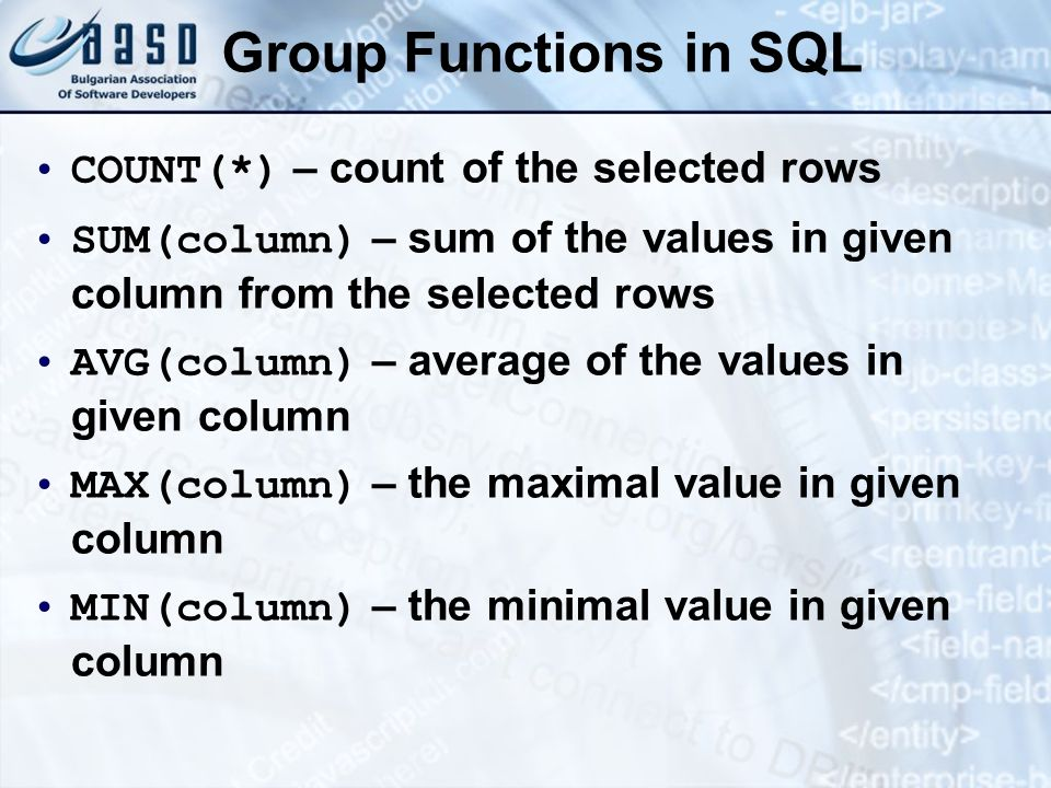 Group Functions in SQL COUNT(*) – count of the selected rows