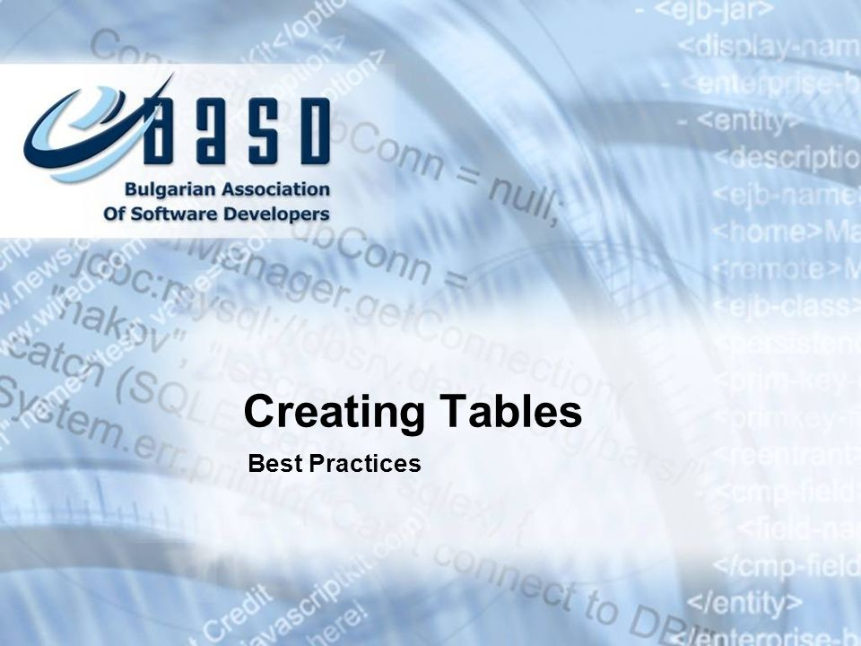 Creating Tables Best Practices * 07/16/96