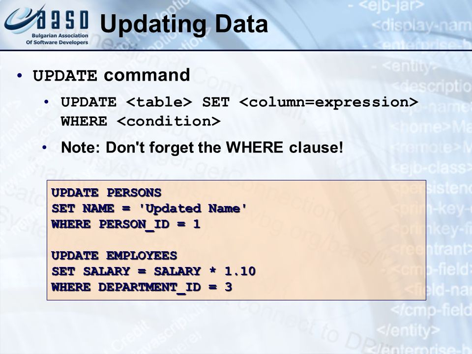Updating Data UPDATE command