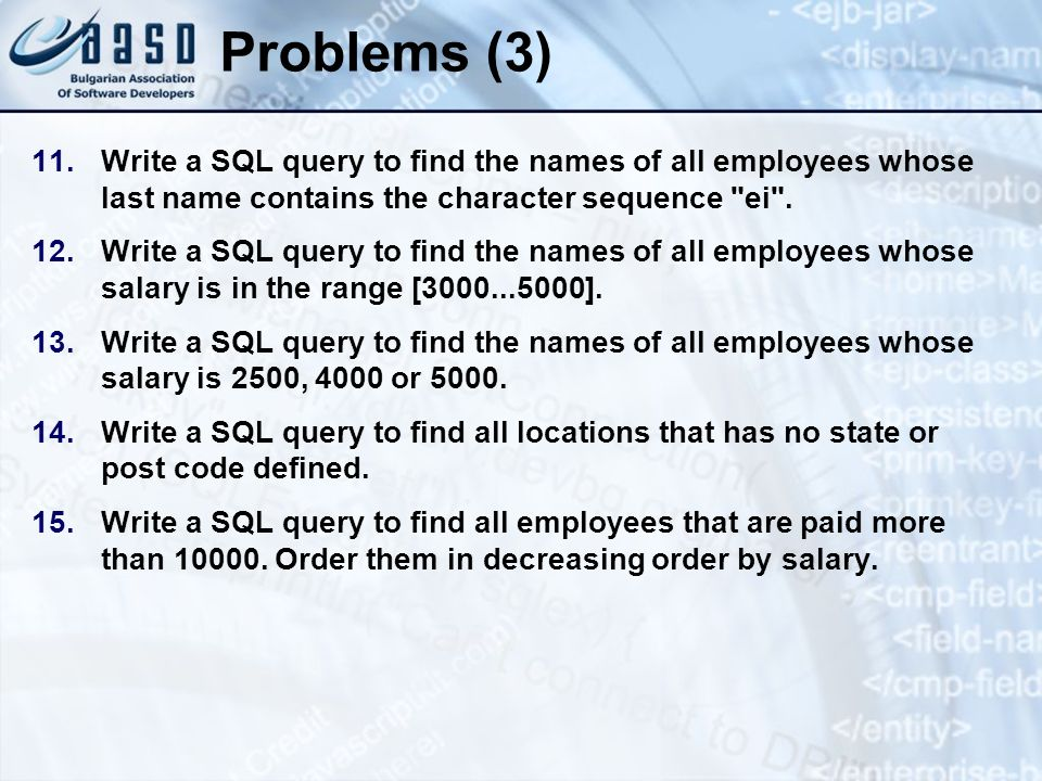 * 07/16/96. Problems (3) Write a SQL query to find the names of all employees whose last name contains the character sequence ei .