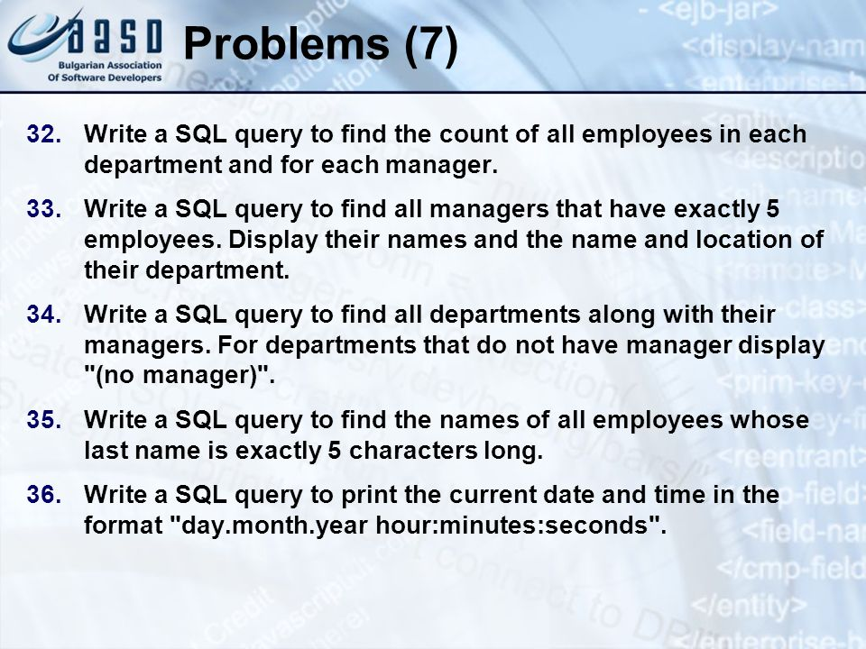 * 07/16/96. Problems (7) Write a SQL query to find the count of all employees in each department and for each manager.