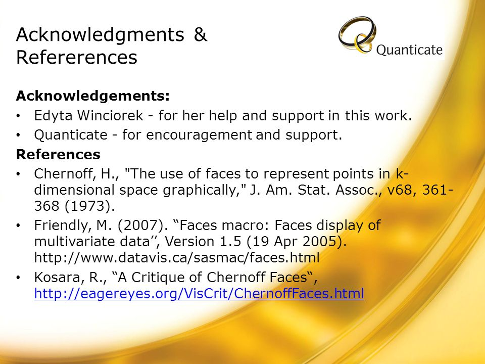 Acknowledgments & Refererences