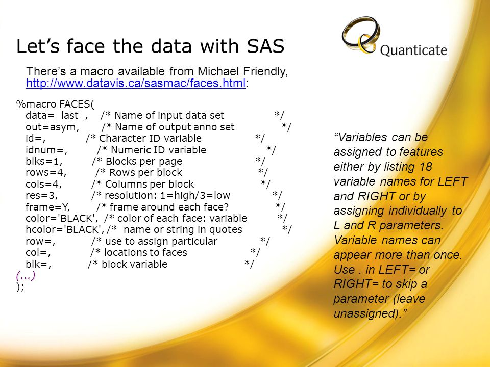 Let's face the data with SAS
