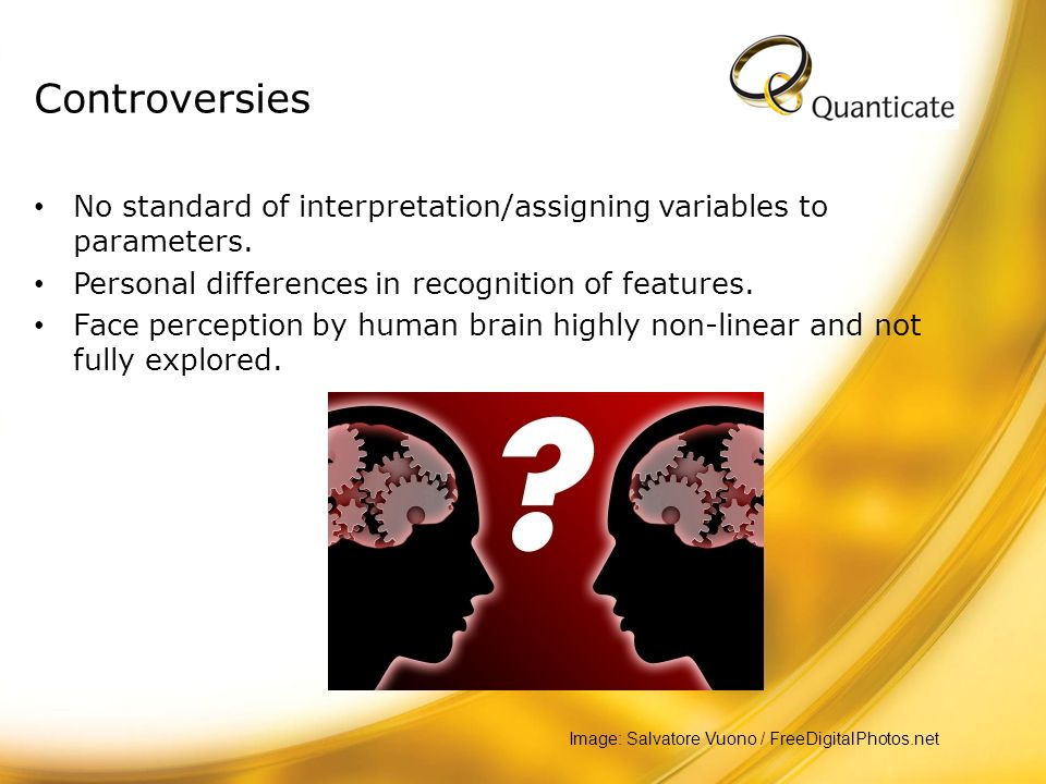 Controversies No standard of interpretation/assigning variables to parameters. Personal differences in recognition of features.