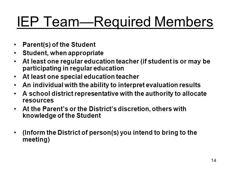 IEP Team—Required Members