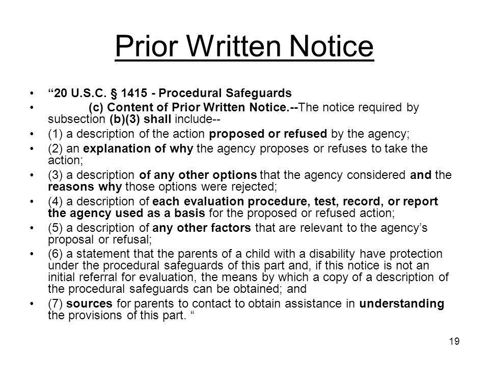 Prior Written Notice 20 U.S.C. § 1415 - Procedural Safeguards