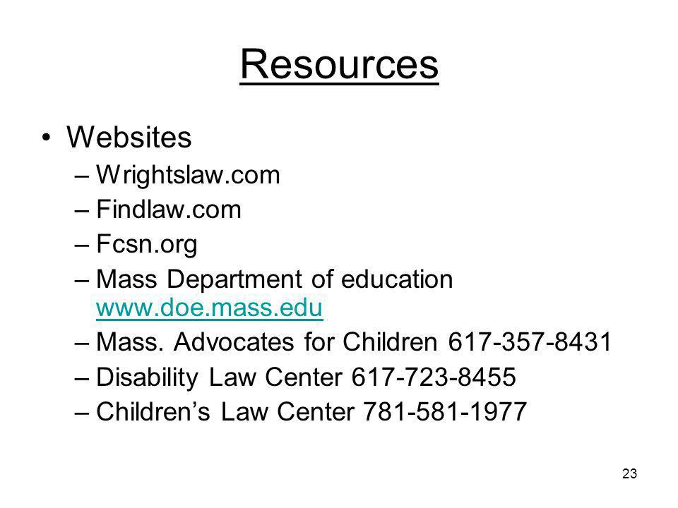Resources Websites Wrightslaw.com Findlaw.com Fcsn.org