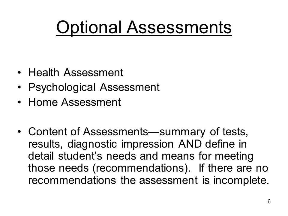 Optional Assessments Health Assessment Psychological Assessment