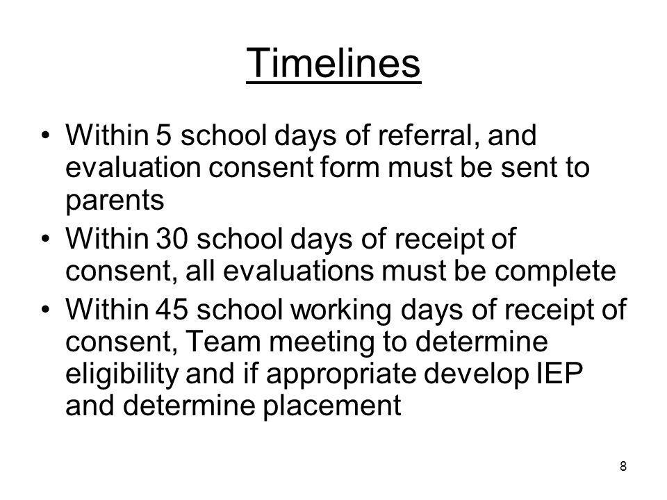 Timelines Within 5 school days of referral, and evaluation consent form must be sent to parents.