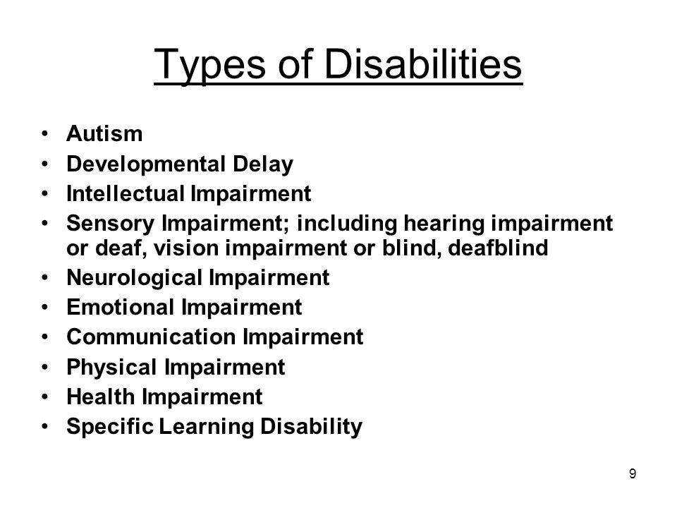 Types of Disabilities Autism Developmental Delay