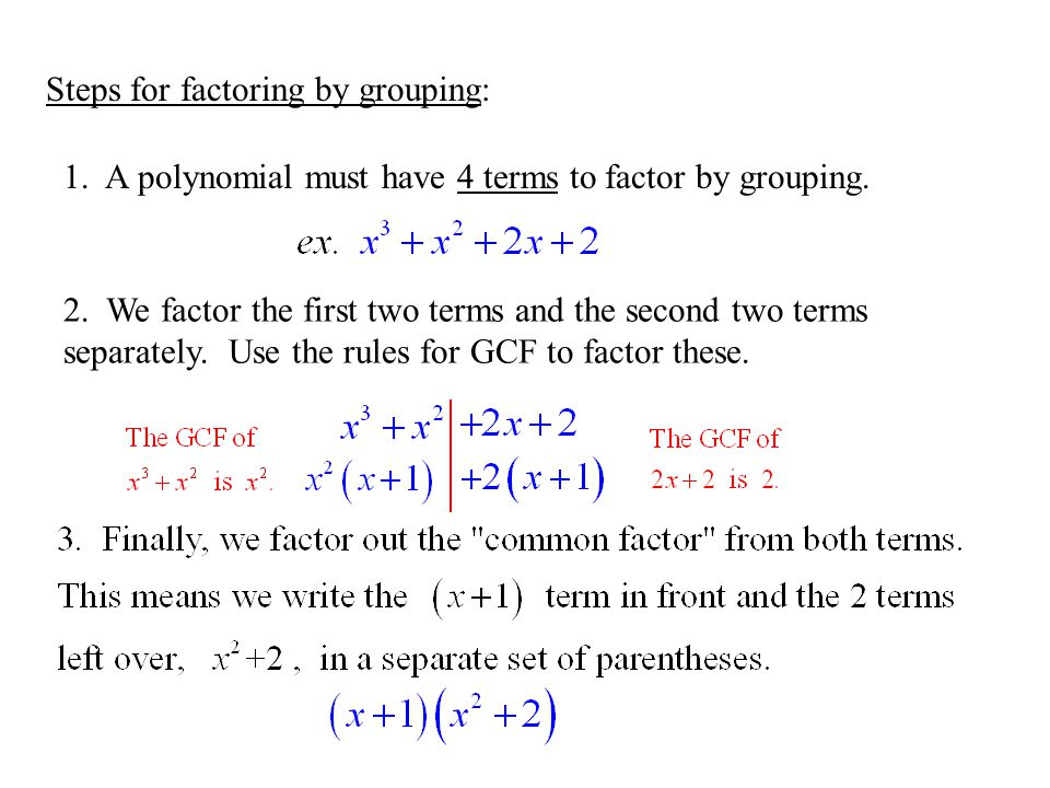 Steps for factoring by grouping: