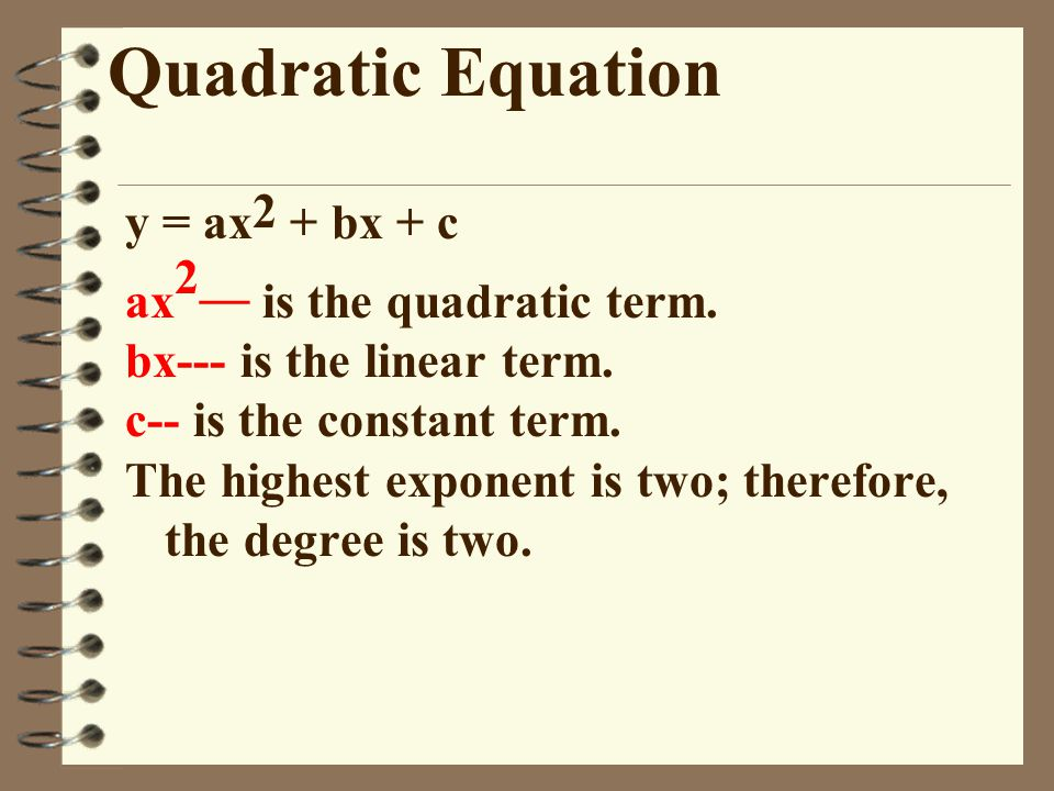Quadratic Equation y = ax2 + bx + c ax2__ is the quadratic term.