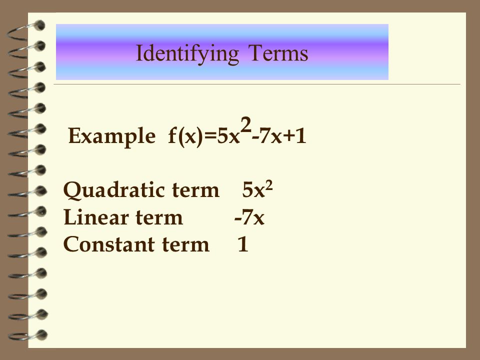 Identifying Terms Example f(x)=5x2-7x+1 Quadratic term 5x2