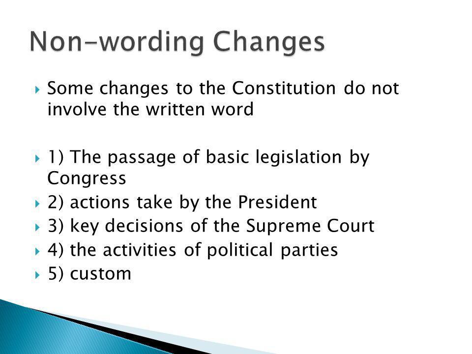 Non-wording Changes Some changes to the Constitution do not involve the written word. 1) The passage of basic legislation by Congress.
