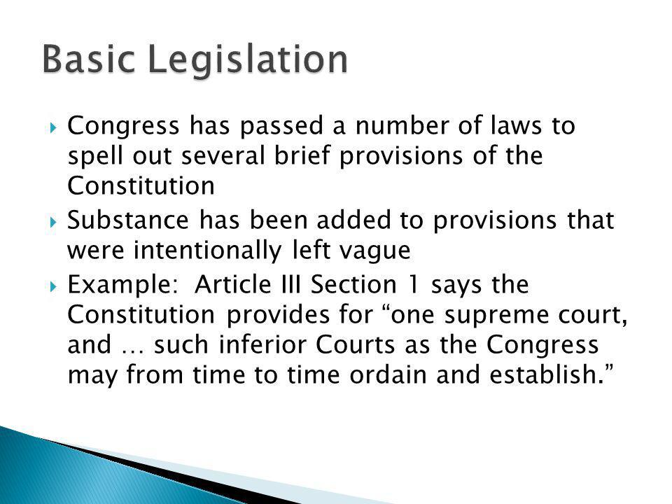 Basic Legislation Congress has passed a number of laws to spell out several brief provisions of the Constitution.