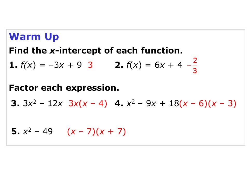 Warm Up Find the x-intercept of each function. 1. f(x) = –3x + 9 3