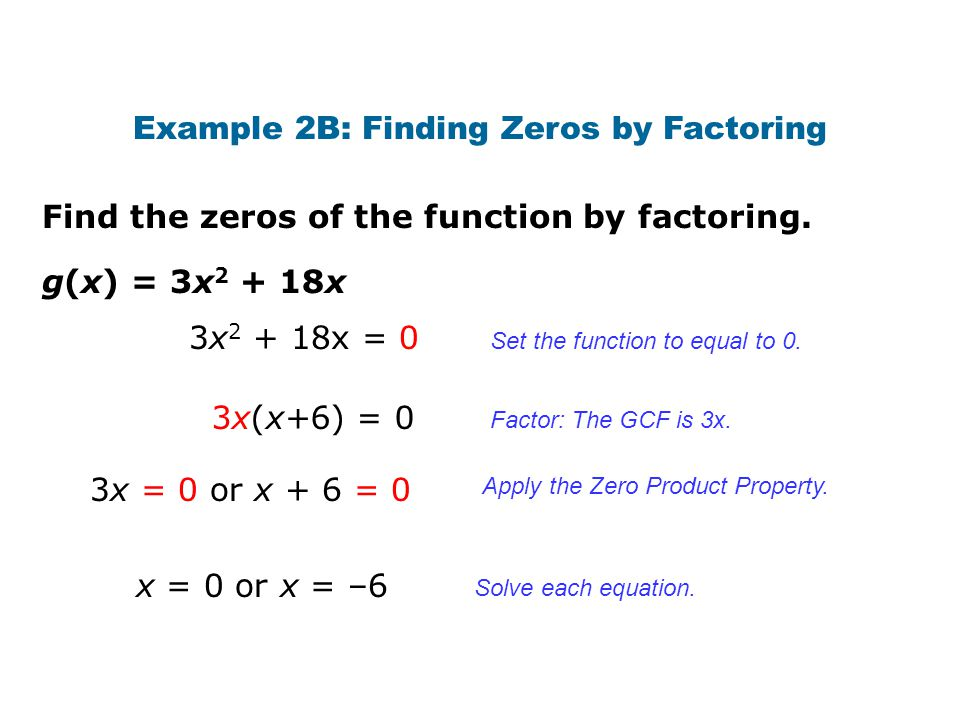 Example 2B: Finding Zeros by Factoring