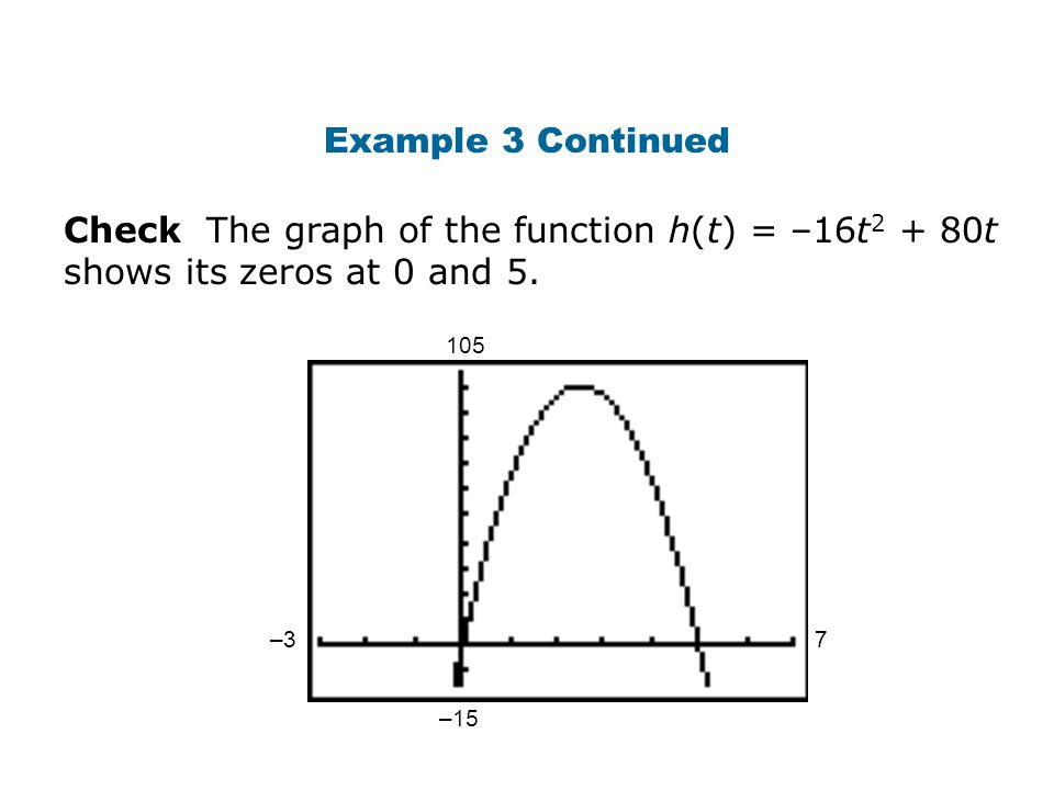 Example 3 Continued Check The graph of the function h(t) = –16t2 + 80t shows its zeros at 0 and 5.