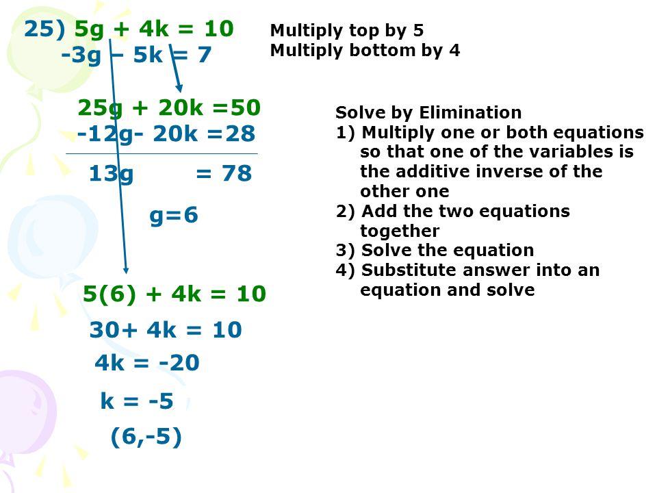 25) 5g + 4k = 10 -3g – 5k = 7 25g + 20k =50 -12g- 20k =28 13g = 78 g=6