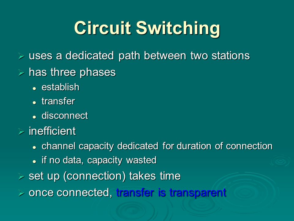 Circuit Switching uses a dedicated path between two stations