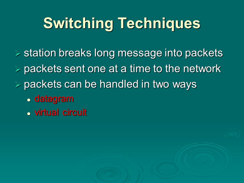 Switching Techniques station breaks long message into packets